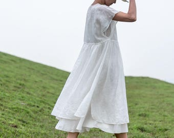 White tunic dress summer dress linen dress large size maxi dress short sleeve long dress pleated dress handmade dress white cotton dress
