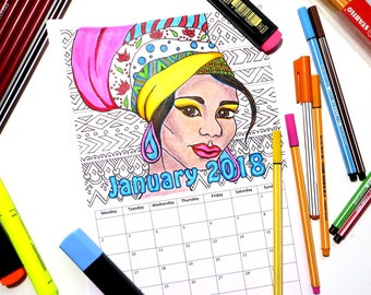 Printable Coloring Calendar 2018 | Indian & African Girl Portraits | PDF Download