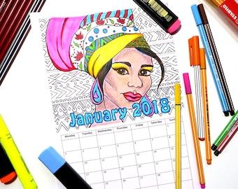Printable Coloring Calendar 2018