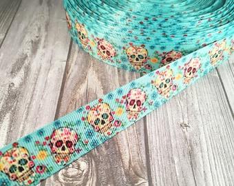 "Candy skull ribbon - Calaveras de azucar - Halloween ribbon - 7/8"" Grosgrain ribbon - All hallows eve - Day of the dead - Holiday ribbon"