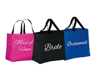 Bridesmaid Tote Bags Set of 8 - Monogrammed Tote - Wedding Tote Bag - Bridal Party Gifts - Bridesmaid Totes - Personalized Totes