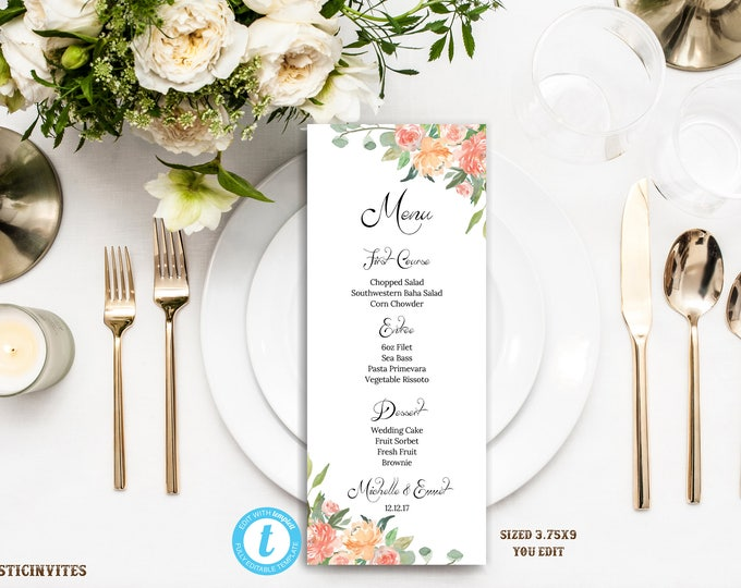 Wedding Menu, Floral Wedding Menu, Wedding Menu Template, YOU EDIT, Printable Wedding Menu, Elegant Menu, DIY, Template, Rustic Wedding Menu