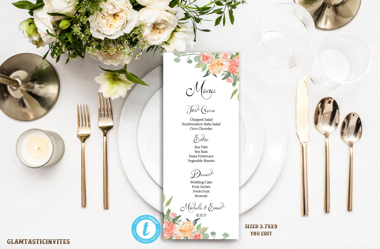 Wedding Menu, Floral Wedding Menu, Wedding Menu Template, YOU EDIT ...