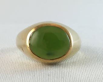 Vintage British Columbia Jade Men's Ring #7, Oval Cut 11x9 mm, 14K Gold Plated sizes 8 3/4, 9, four left