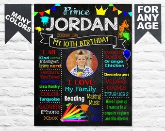 Art Paint Birthday Party chalkboard sign - 10th bday poster banner milestone chalk board blackboard facts favor with photo PRINTABLE (414)