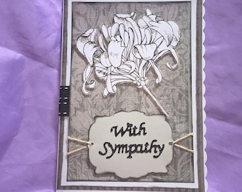 sympathy card in grey ,black,white and silver highlights