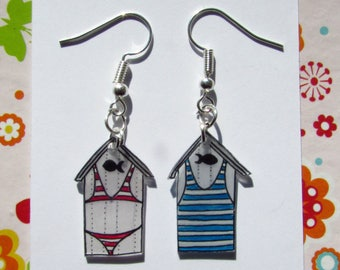 Blue and red stripes Beach earrings