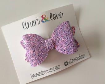 Glitter Hair Bow - Purple Glitter Bow