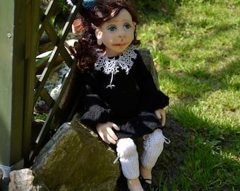 Handmade Doll- Agatha -49cm ((AO 22'17)) - textile doll- fabric doll- rag doll- home decoration- handmade toy-cloth dolls-fabric dolls