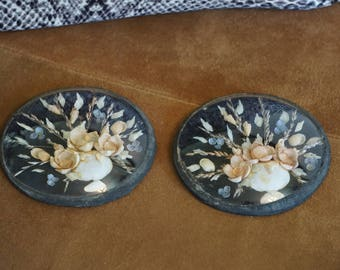 Pair of Vintage Delicate Shell Pictures/ Souvenir Shell Pictures/ Victorian Style/ Domed Glass