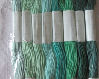 Embroidery thread color light green to dark green