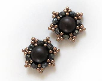 Chocolate earrings Small Beaded Post Earrings, Everyday Earrings, Brown Jewelry, Dark Chocolate, taupe Studs, Dark Brown Stud Earrings