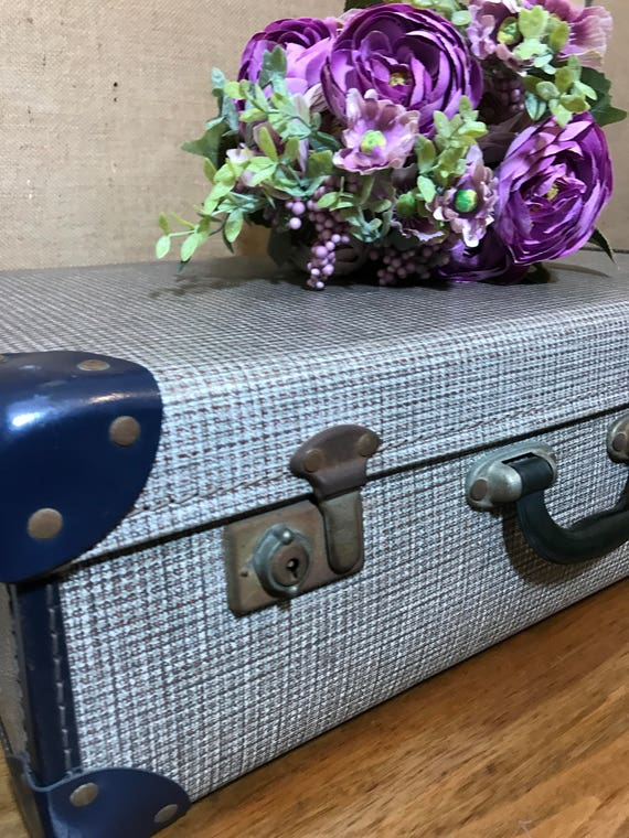 Small Blue and Cream Vintage Suitcase - Vintage Luggage | Small Blue Travel Case | Vintage Home Decor | Dogtooth Suitcase | Photography Prop