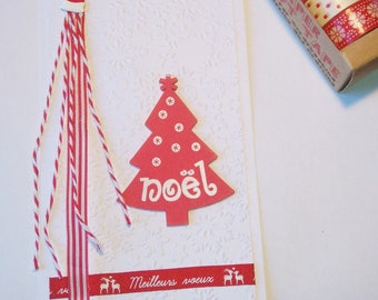 Card embossed with Christmas tree red wood
