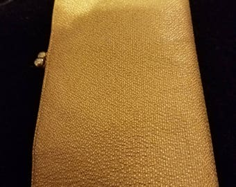 Vintage gold lame 70's evening clutch **FREE SHIP**