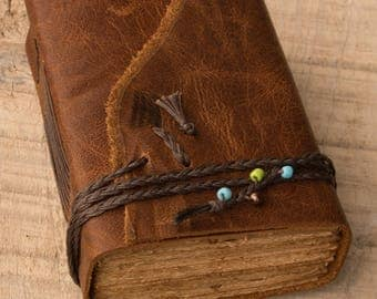 Rustic Leather Journal, Handbound Journal, Travel Journal, Leather Diary, Notebook