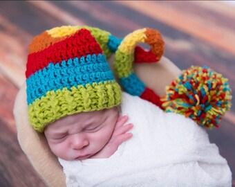 Rainbow baby hat, rainbow baby, long tail hat, rainbow hat, newborn prop, rainbow newborn