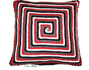 Red, Gray, Black and White crochet spiral pillow, Cuscino rosso, grigio, nero e bianco a spirale all'uncinetto