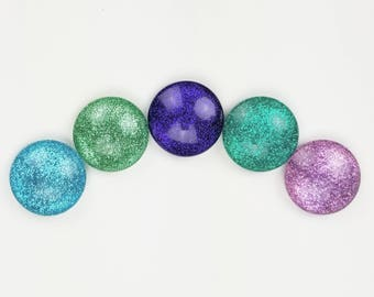 """Mermaid Glitter Magnets // Set of  6 - 1"""" Round Glass Magnets // Fantasy Themed Magnets"""