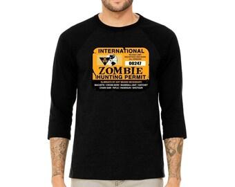 MEN Premium Raglan International Zombie Hunting Permit 3/4 Sleeve Funny Halloween Raglan Shirt
