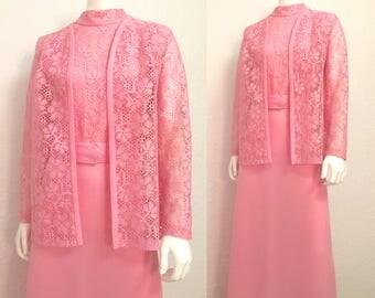 Vintage Maxi Dress / 1960's Belted Dress Vest Set / Medium M Polyester Pink Dress / Large L Lace Turtleneck Maxi Dress