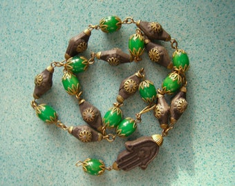 Necklace ethnic ancient/hand of Fatima/necklace ethnic Berber/green Cabochon turquoise/antiquityfrench/gilt carved / wood noici