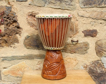 Large African Drum with carved wooden base. Senegal. Djembe.