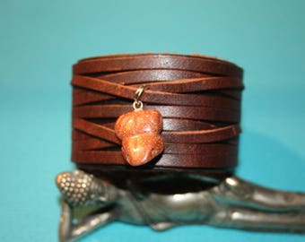 BRACELET WIDE LEATHER FOR MEN AND SUN STONE