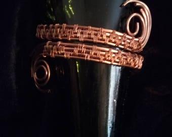 Wrapped copper wire cuff bracelet.