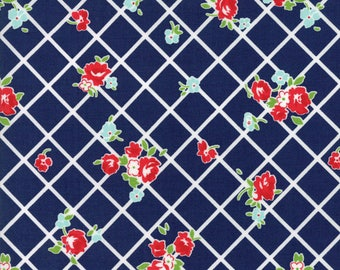 Moda THE GOOD LIFE Quilt Fabric 1/2 Yard By Bonnie & Camille - Navy 55153 26