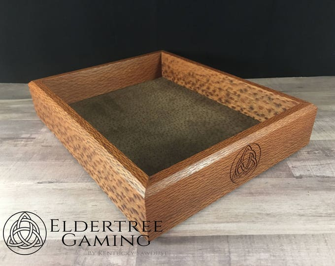 Premium Dice Tray - Table Top Sized - Lacewood with Felt or Leather Rolling Surface - Eldertree Gaming