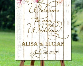 Rustic Wedding Printable Welcome Sign, Floral Welcome to our Wedding Sign Printable, Barn Wood Printable Welcome to wedding Sign, Gold Sign