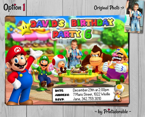 Super Mario Invitation - Mario Party Invite - Mario Birthday Party with Invitation, Favor Tag, Address Label and Water Bottle Labels