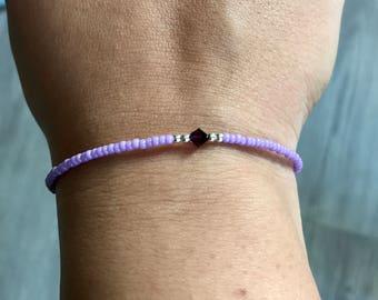 Lavendel Swarovski/miyuki bracaelet, lilac bracelet, Swarovski bracelet, boho bracelet, Swarovski amethyst, bridesmaids gift, Christmas pre