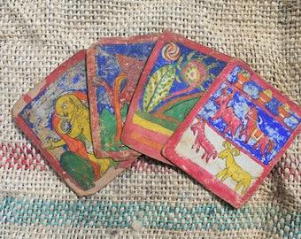 4 Tibetan Prayer Cards 19th Century