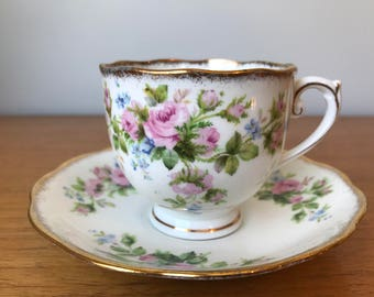 "Roslyn ""Moss Rose"" Vintage Teacup and Saucer, Pink Rose Blue Flower Tea Cup and Saucer, English Floral Bone China"