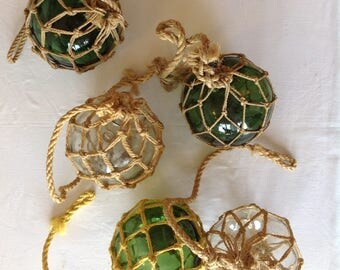 Fishing float, antique glass ball, ball with macrame / Green fishing float