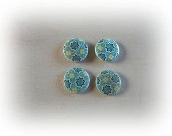 4 shells oriental pattern blue-green 20 mm round beads