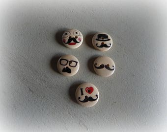 5 wooden buttons round theme mustache man background 15 mm