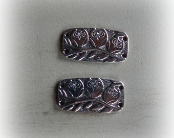 2 connectors, spacer OWL / OWL 37 * 20 mm antique silver