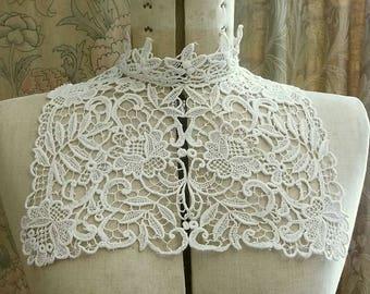 Antique High Neck  Schiffli Lace Collar