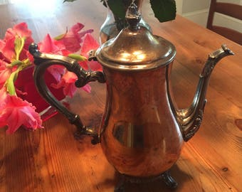 Vintage Silver Wm Rogers 800 Footed Teapot or Coffeepot with hinged Lid