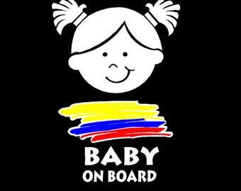 Colombian Baby on Board  Car sticker | Boy or Girl