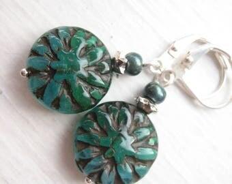 Teal earrings, glass teal drops, teal opal glass, Czech glass bead, teal Dahlia earrings, teal flowers, green blue glass, Czech flowers