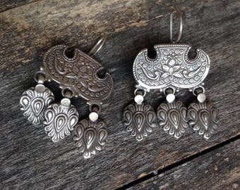 original Rajasthan India Earrings Tribal Gipsy Nomade Hippie Ethnic Sterling Silver