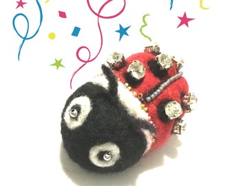 Cubic Zirconia Studded Lady Bird Brooch, Hand Crafted Brooch, Hand Beaded Pin, Holiday Gift Guide, Special Xmas gift, Felted Jacket Brooch