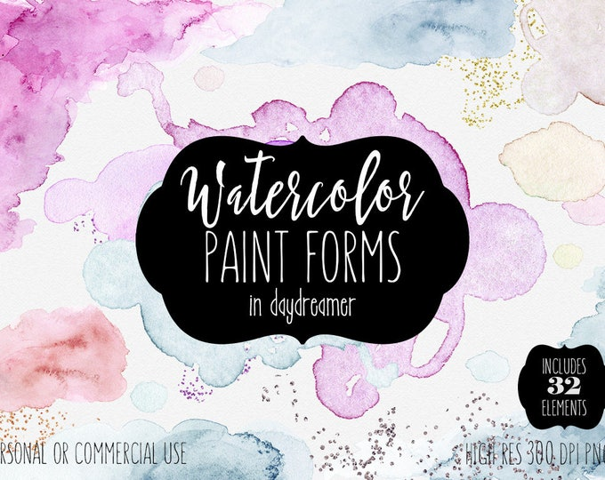 WATERCOLOR BRUSH STROKES Clipart Commercial Use Clip Art 32 Watercolor Paint Forms Edges Shapes Gold Glitter Confetti Textures Logo Graphics