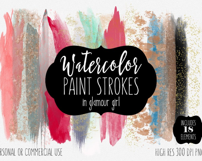 WATERCOLOR PAINT STROKES Clipart Commercial Use Clipart 18 Watercolor Brush Blog Headers Rose Gold Confetti Textures Shop Banner Graphics