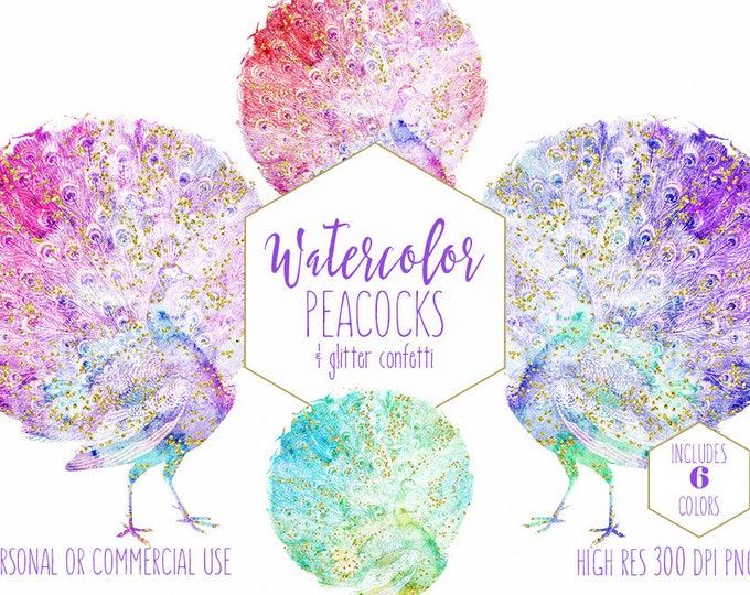 WATERCOLOR PEACOCKS Clipart Commercial Use Clip Art Watercolour Birds Teal Purple Pink Aqua Metallic Gold Confetti Glitter Wedding Graphics