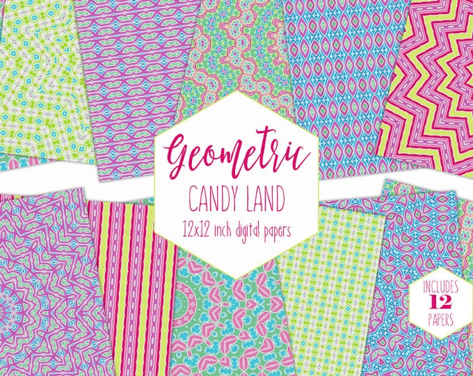 RAINBOW COLORS Digital Paper Pack Geometric Backgrounds Candyland Scrapbook Papers Mandala Patterns Kids Fun Party Printable Commercial Use